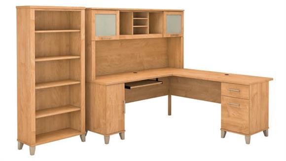 "L Shaped Desks Bush Furnishings 72""W L-Shaped Desk with Hutch and 5 Shelf Bookcase"