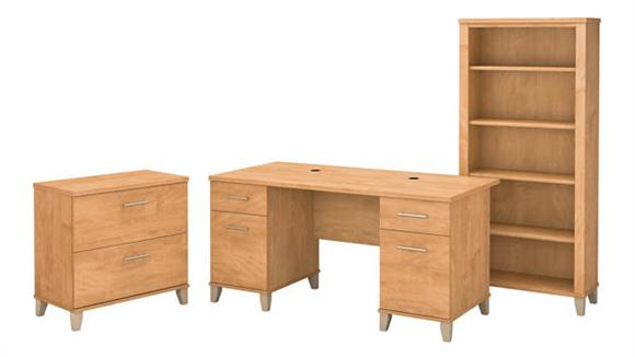 """Computer Desks Bush Furnishings 60""""W Office Desk with Lateral File Cabinet and 5 Shelf Bookcase"""