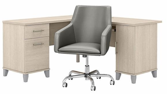 """L Shaped Desks Bush Furnishings 60"""" W L-Shaped Desk with Mid Back Leather Box Chair"""
