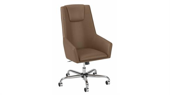 Office Chairs Bush Furnishings High Back Leather Box Chair
