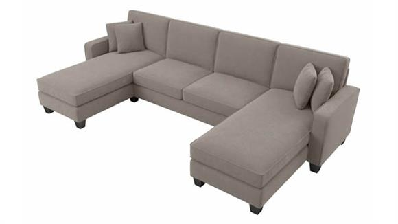 """Sectional Sofas Bush Furnishings 130""""W Sectional Couch with Double Chaise Lounge"""