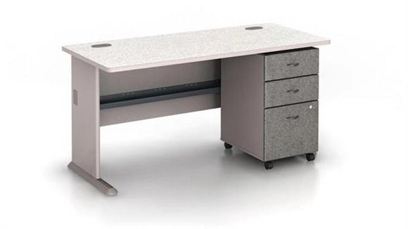 "Modular Desks Bush Furnishings 60"" Desk with Pedestal"