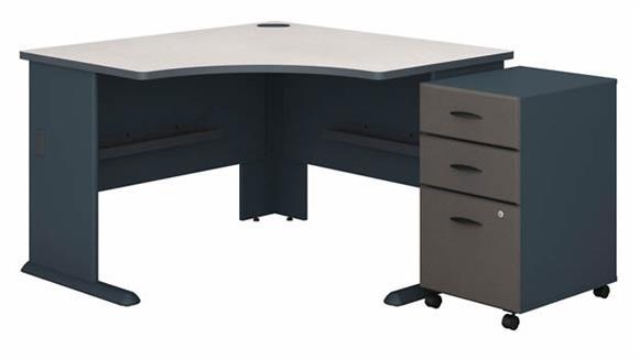 """Corner Desks Bush Furnishings 48""""W Corner Desk with Assembled 3 Drawer Mobile File Cabinet"""