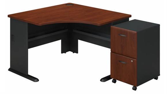"""Corner Desks Bush Furnishings 48""""W Corner Desk with Assembled 2 Drawer Mobile File Cabinet"""