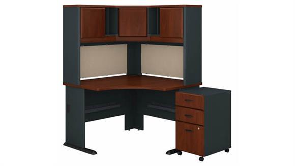 """Corner Desks Bush Furnishings 48""""W Corner Desk with Hutch and Assembled 3 Drawer Mobile File Cabinet"""