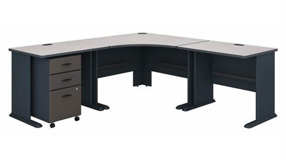 """Corner Desks Bush Furnishings 84""""W x 84""""D Corner Desk with Assembled 3 Drawer Mobile File Cabinet"""