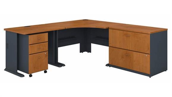 """Corner Desks Bush Furnishings 48""""W Corner Desk with 36""""W Return, Assembled 3 Drawer Mobile File Cabinet and Assembled 2 Drawer Lateral File Cabinet"""