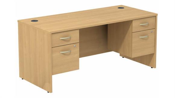 "Computer Desks Bush Furnishings 66""W Desk with (2) Assembled 3/4 Pedestals"