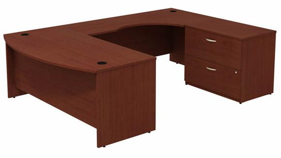 "U Shaped Desks Bush Furnishings 72""W Bow Front U-Shaped Desk with Assembled 2 Drawer Lateral File Cabinet"