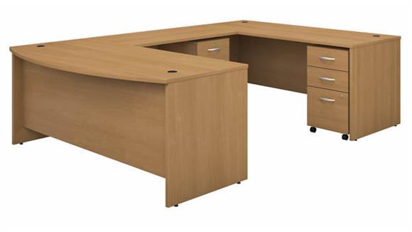 "U Shaped Desks Bush Furnishings 72""W x 36""D Bow Front U-Shaped Desk with (2) Assembled Mobile File Cabinets"