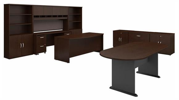 Executive Desks Bush Furnishings Executive Office Suite with Storage and Conference Table