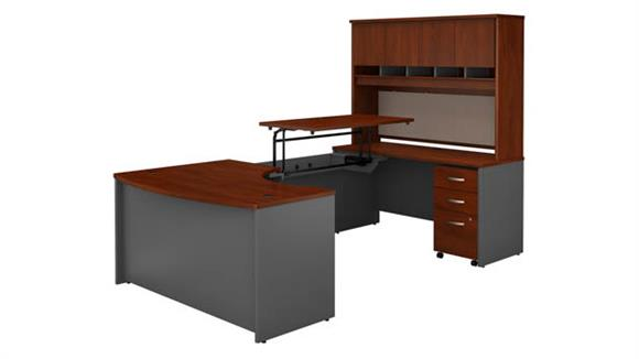 "Adjustable Height Desks & Tables Bush Furnishings 60""W x 43""D Right Hand 3 Position Sit to Stand U Shaped Desk with Hutch and Mobile File Cabinet"
