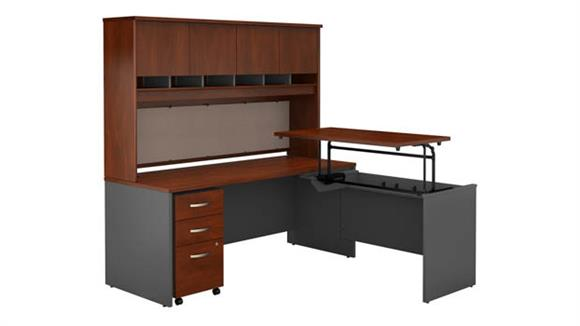 "Adjustable Height Desks & Tables Bush Furnishings 72""W x 30""D 3 Position Sit to Stand L Shaped Desk with Hutch and Mobile File Cabinet"