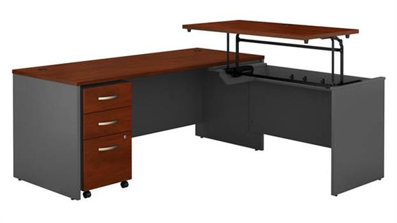 "Adjustable Height Desks & Tables Bush Furnishings 72""W x 30""D 3 Position Sit to Stand L Shaped Desk with Mobile File Cabinet"