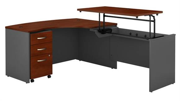 "Adjustable Height Desks & Tables Bush Furnishings 60""W x 43""D Right Hand 3 Position Sit to Stand L Shaped Desk with Mobile File Cabinet"