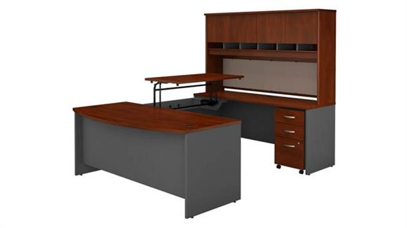 "Adjustable Height Desks & Tables Bush Furnishings 72""W x 36""D 3 Position Sit to Stand Bow Front U Shaped Desk with Hutch and Mobile File Cabinet"