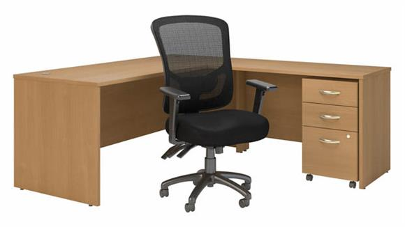"""L Shaped Desks Bush Furnishings 72""""W L-Shaped Desk with High Back Multifunction Office Chair and Assembled Mobile File Cabinet"""