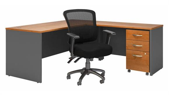 """L Shaped Desks Bush Furnishings 72""""W L-Shaped Desk with Mid Back Multifunction Office Chair and Assembled Mobile File Cabinet"""