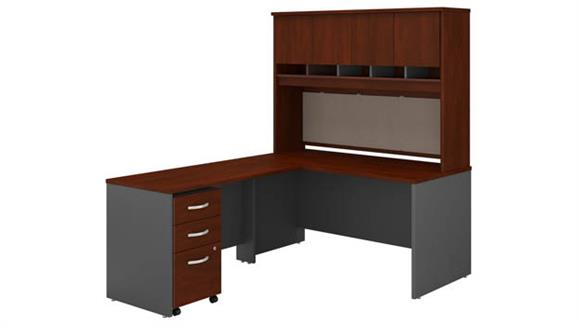 "L Shaped Desks Bush Furnishings 60""W L-Shaped Desk with Hutch and Assembled Mobile File Cabinet"