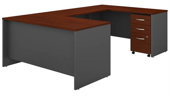 "U Shaped Desks Bush Furnishings 60""W U-Shaped Desk with 3 Drawer Mobile File Cabinet"