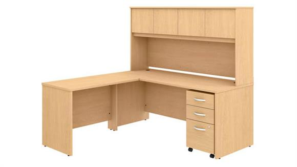 "Executive Desks Bush Furnishings 72""W x 30""D L-Shaped Desk with Hutch, Mobile File Cabinet and 42""W Return"