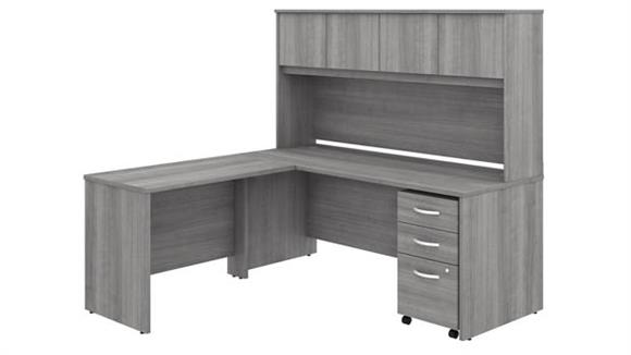 "Executive Desks Bush Furnishings 72""W x 30""D L-Shaped Desk with Hutch, 42""W Return and Assembled Mobile File Cabinet"