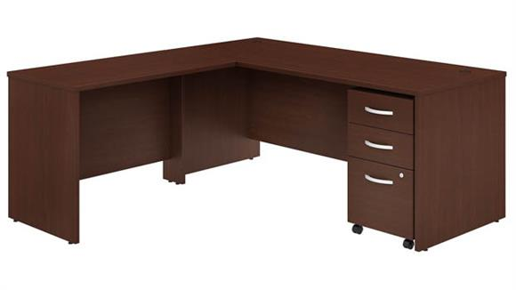 "Executive Desks Bush Furnishings 72""W x 30""D L-Shaped Desk with Mobile File Cabinet and 42""W Return"