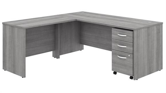 "Executive Desks Bush Furnishings 72""W x 30""D L-Shaped Desk with 42""W Return and Assembled Mobile File Cabinet"