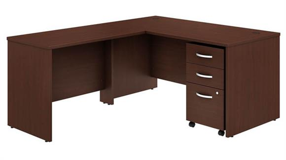 "Executive Desks Bush Furnishings 60""W x 30""D L-Shaped Desk with Mobile File Cabinet and 42""W Return"