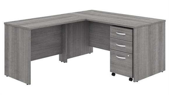 "Executive Desks Bush Furnishings 60""W x 30""D L-Shaped Desk with 42""W Return and Assembled Mobile File Cabinet"