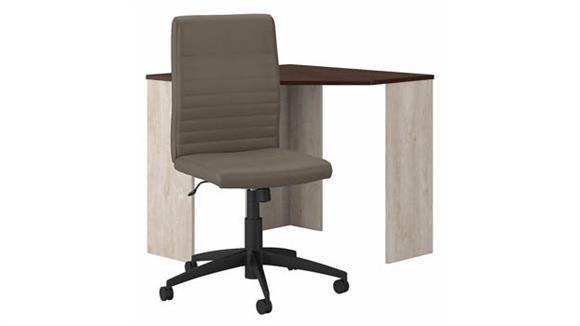 Corner Desks Bush Furnishings Corner Desk and Mid Back Ribbed Leather Office Chair Set