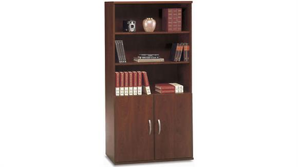 Bookcases Bush Furnishings Open Double Bookcase with Doors