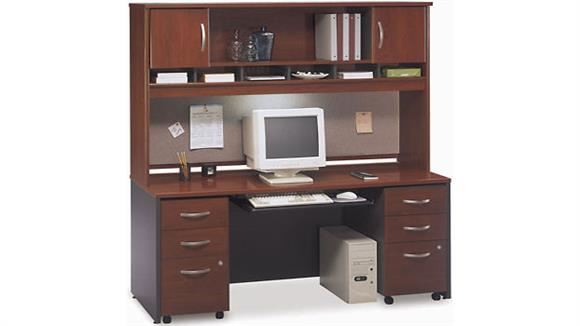 Office Credenzas Bush Furnishings Double Pedestal Credenza with 2 Door Hutch