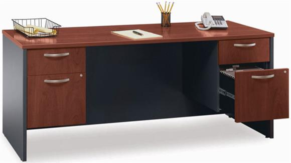 Office Credenzas Bush Furnishings Double Pedestal Credenza
