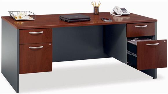 "Executive Desks Bush Furnishings 72"" Double Pedestal Executive Desk"