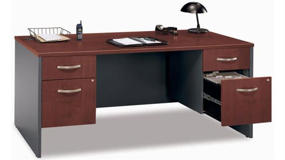 "Executive Desks Bush Furnishings 66"" Double Pedestal Executive Desk"