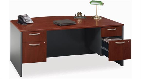 Executive Desks Bush Furnishings Double Pedestal Bow Front Desk