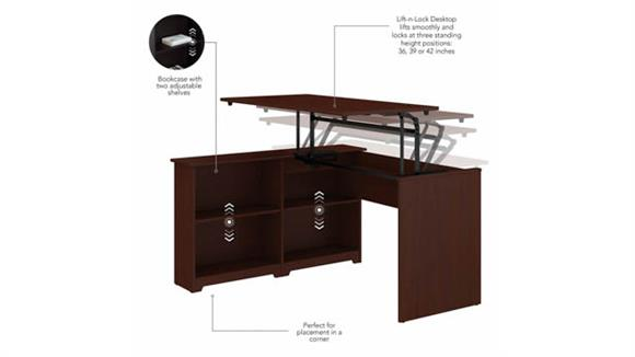 "Adjustable Height Desks & Tables Bush Furnishings 52""W 3 Position Sit to Stand Corner Bookshelf Desk"