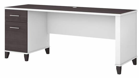 """Computer Desks Bush Furnishings 72""""W Office Desk with Drawers"""