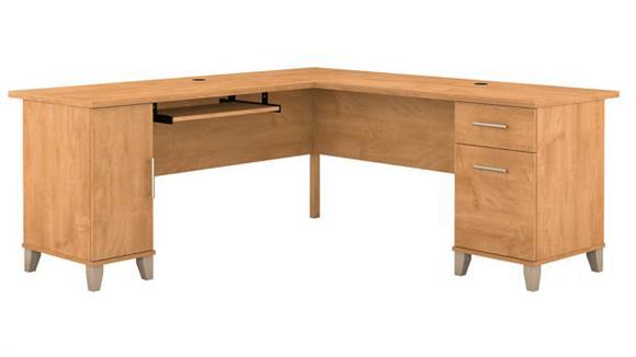 "L Shaped Desks Bush Furnishings 72""W L-Shaped Desk with Storage"