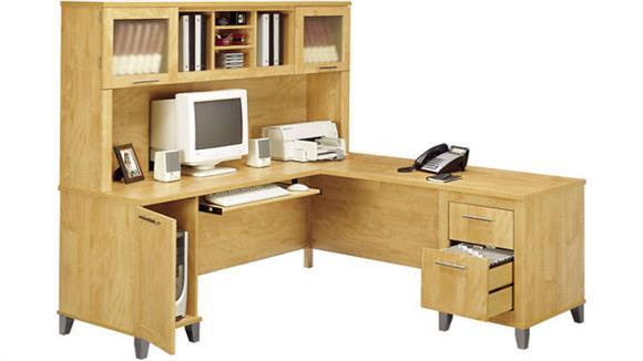 L Shaped Desks Bush Furnishings L Shaped Desk with Hutch