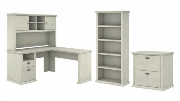 "L Shaped Desks Bush Furnishings 60""W L-Shaped Desk with Hutch, Lateral File Cabinet and 5 Shelf Bookcase"