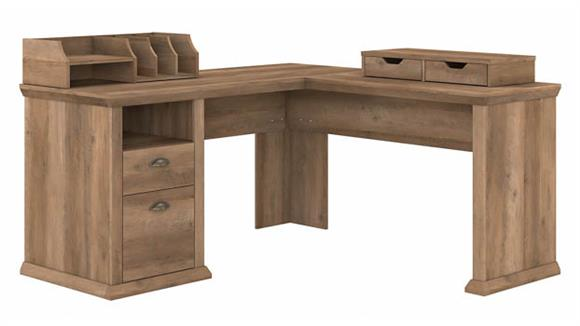 "L Shaped Desks Bush Furnishings 60""W L-Shaped Desk with Storage and Organizers"