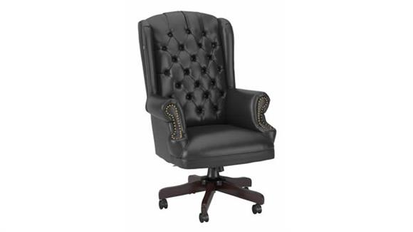 Office Chairs Bush Furnishings Wingback Leather Executive Office Chair with Nailhead Trim