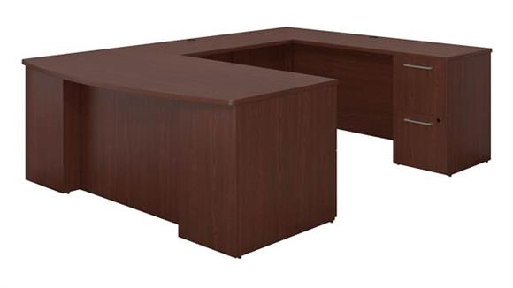 "U Shaped Desks Bush 72""W x 36""D Bow Front U Shaped  Desk with 2 Pedestals and Bridge"