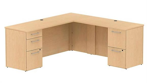 "Executive Desks Bush 72""W x 22""D L Shaped Office Desk with 2 and 3 Drawer Pedestals and Return"