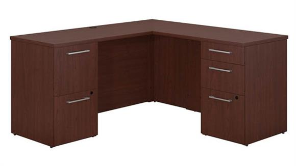"L Shaped Desks Bush 60""W x 22""D L Shaped Office Desk with 2 and 3 Drawer Pedestals and Return"
