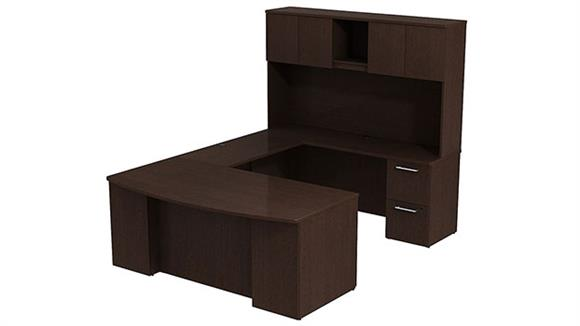 "U Shaped Desks Bush 72""W x 36""D Bow Front U Shaped Desk with Hutch, 2 Pedestals and Bridge"
