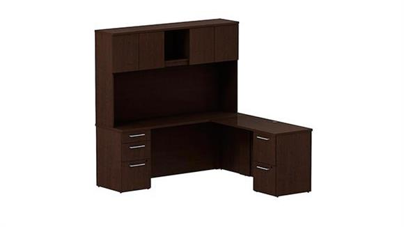 "Executive Desks Bush 72""W x 22""D L Shaped Office Desk with Hutch, 2 Pedestals and Return"