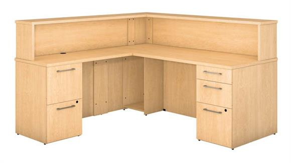 Reception Desks Bush L Shaped Reception Desk with 2 and 3 Drawer Pedestals